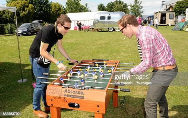 Nick Ingram and Mike Kintish of The Yeah You's backstage at the Isle of Wight festival in Newport on the Isle of Wight