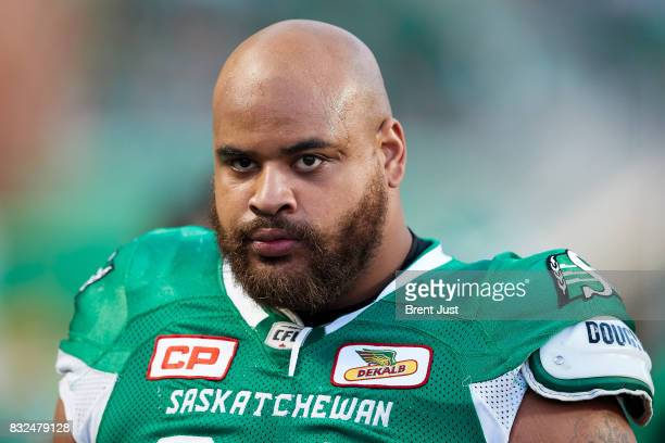 Nick James of the Saskatchewan Roughriders on the sideline during the game between the BC Lions and the Saskatchewan Roughriders at Mosaic Stadium on...