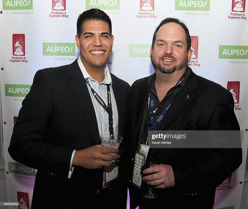 Nick Jimenez and Chief Financial Officer for The Recording Academy Wayne Zahner attend the 56th GRAMMY Awards PE Wing Event Honoring Neil Young at...