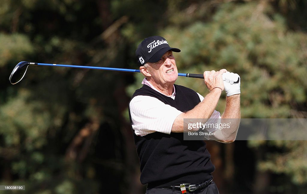 Nick Job of England hits a drive from the third tee during the final round on day three of the WINSTONgolf Senior Open played at WINSTONgolf on September 8, 2013 in Schwerin, Germany.