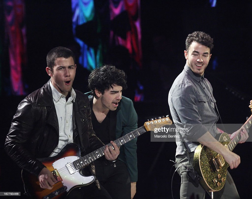 Nick, Joe and Kevin Jonas (L-R) perform at the Quinta Vergara during the 53rd Vina del Mar International Music Festival on February 26, 2013 in Vina del Mar, Chile.
