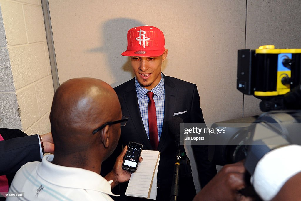 Nick Johnson #3 of the Houston Rockets speaks to the media in a press conference after being drafted in Houston, Texas.