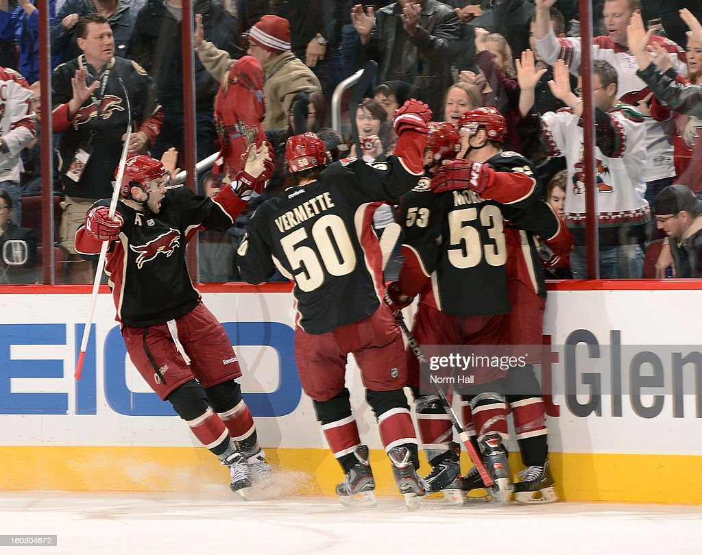 Nick Johnson #32 of the Phoenix Coyotes celebrates with teammates after his third period goal against the Nashville Predators at Jobing.com Arena on January 28, 2013 in Glendale, Arizona.