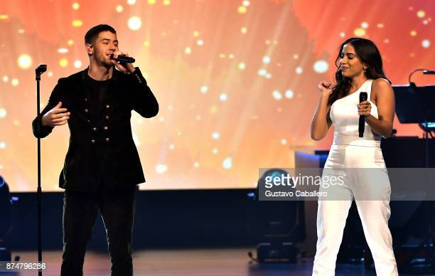 Nick Jonas and Anitta perform onstage during the 2017 Person of the Year Gala honoring Alejandro Sanz at the Mandalay Bay Convention Center on...
