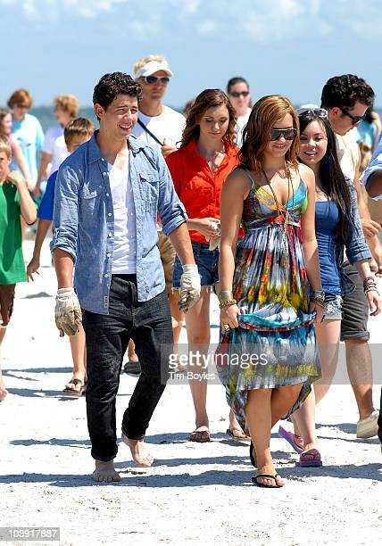 Nick Jonas and Demi Lovato attend Disney's Friends for Change Project Green Gulf Coast clean up on September 8 2010 in St Petersburg Florida