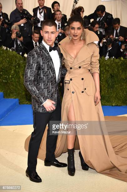 Nick Jonas and Priyanka Chopra attends the 'Rei Kawakubo/Comme des Garcons Art Of The InBetween' Costume Institute Gala at Metropolitan Museum of Art...
