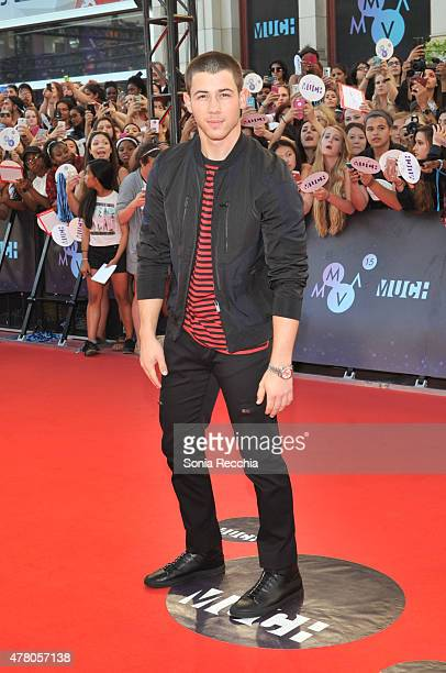 Nick Jonas arrives at the 2015 MuchMusic Video Awards at MuchMusic HQ on June 21 2015 in Toronto Canada