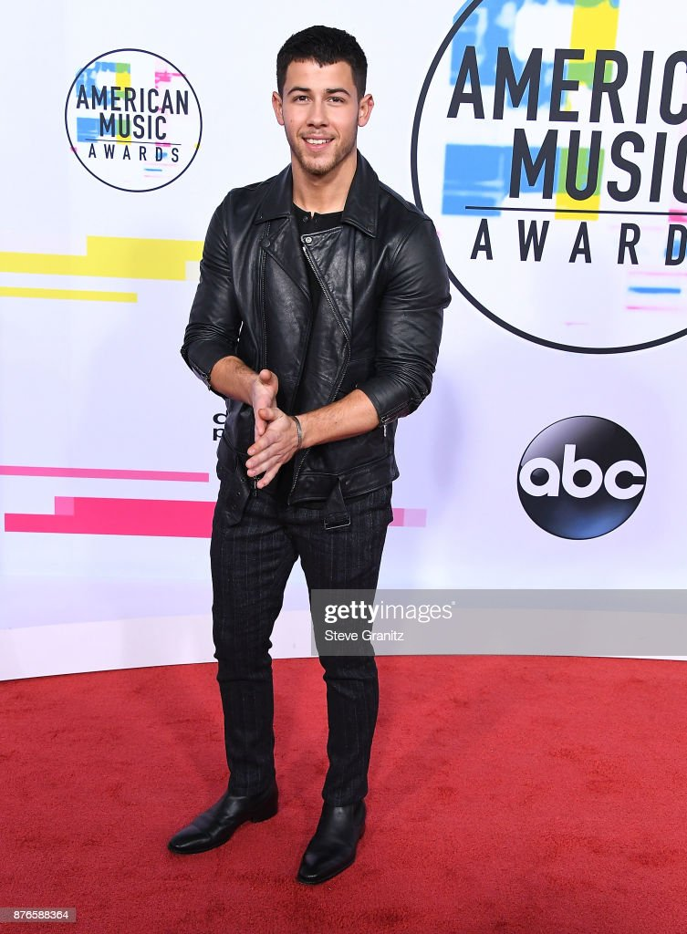 Nick Jonas arrives at the 2017 American Music Awards at Microsoft Theater on November 19, 2017 in Los Angeles, California.