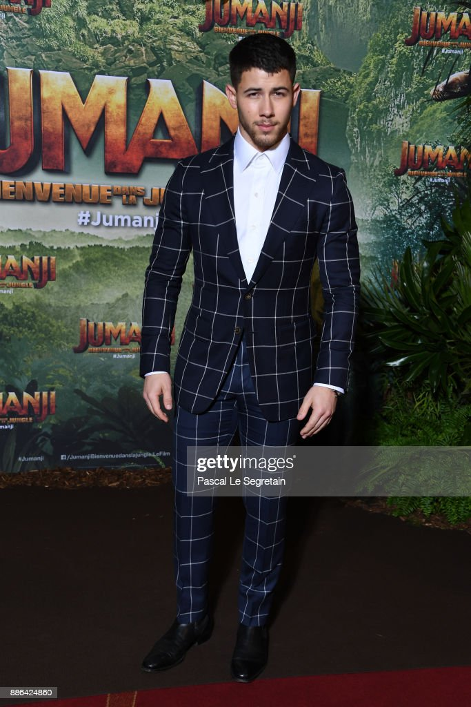 Nick Jonas attends 'Jumanji : Welcome to the Jungle' Premiere at Le Grand Rex on December 5, 2017 in Paris, France.