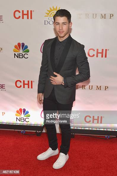 Nick Jonas attends The 63rd Annual Miss Universe Pageant at Trump National Doral on January 25 2015 in Doral Florida
