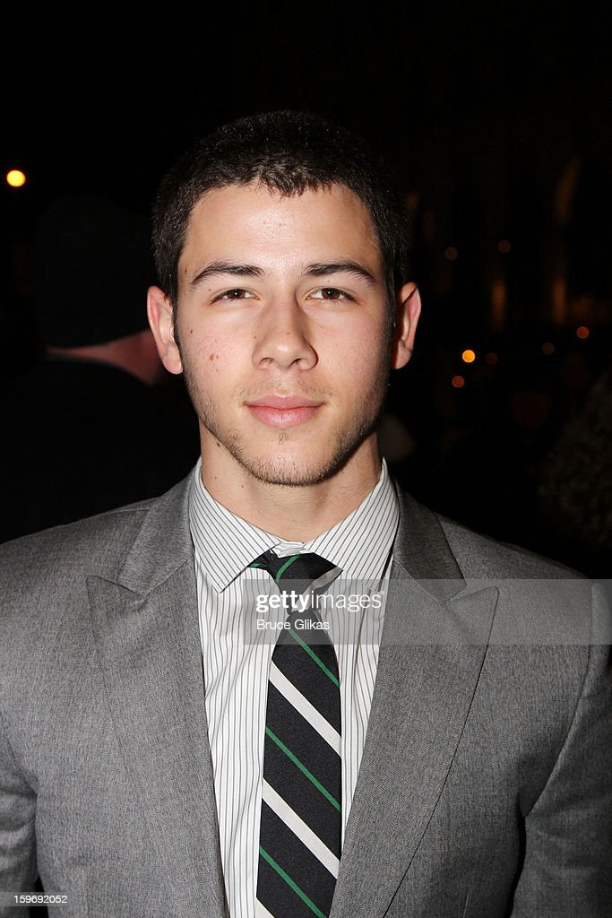 <a gi-track='captionPersonalityLinkClicked' href=/galleries/search?phrase=Nick+Jonas&family=editorial&specificpeople=842713 ng-click='$event.stopPropagation()'>Nick Jonas</a> attends the Broadway opening night of 'Cat On A Hot Tin Roof' at The Richard Rodgers Theatre on January 17, 2013 in New York City.