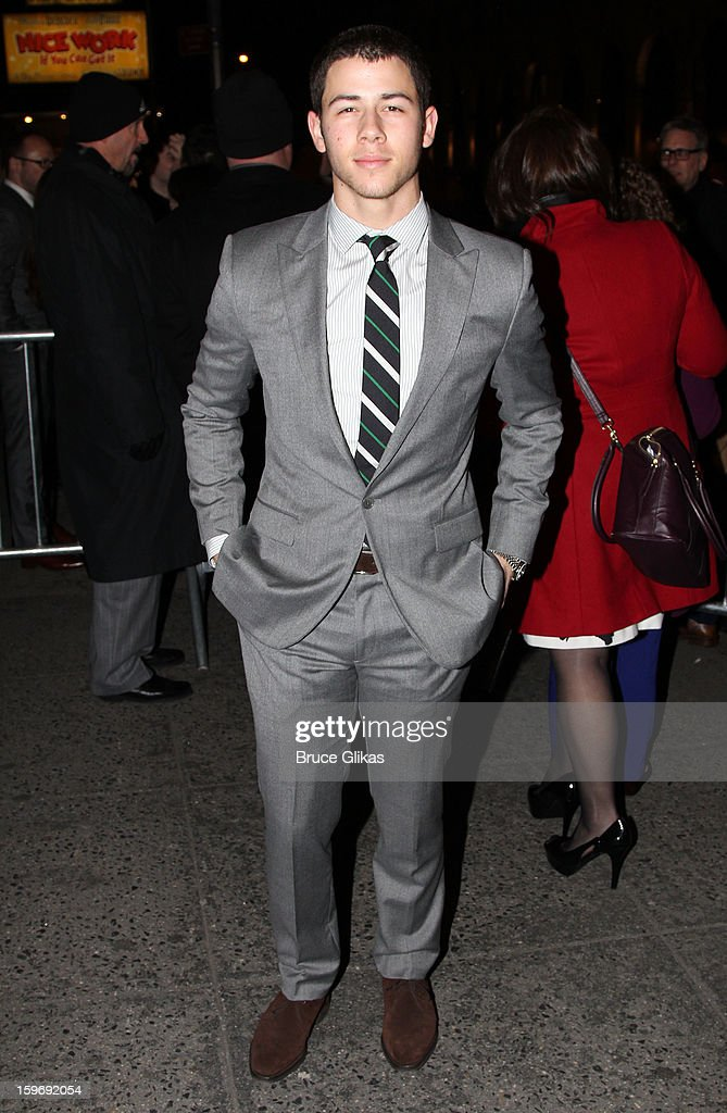 Nick Jonas attends the Broadway opening night of 'Cat On A Hot Tin Roof' at The Richard Rodgers Theatre on January 17, 2013 in New York City.