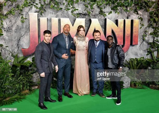 Nick Jonas Dwayne Johnson Karen Gillan Jack Black and Kevin Hart attend the 'Jumanji Welcome To The Jungle' UK premiere held at Vue West End on...