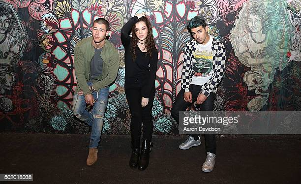 Nick Jonas Hailee Steinfeld and Joe Jonas attend DNCE Jingle Ball after party on December 18 2015 in Miami Florida