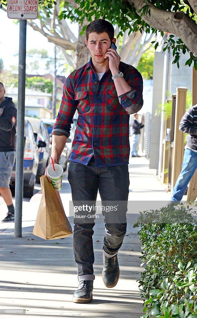 Nick Jonas is seen on December 10, 2013 in Los Angeles, California.