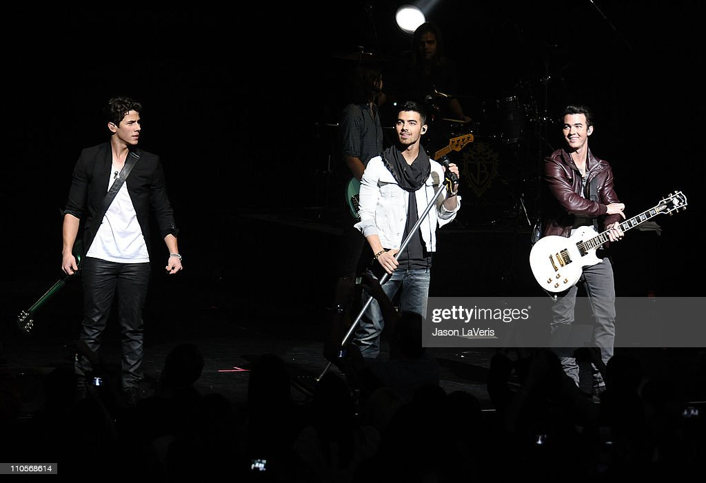 Nick Jonas, Joe Jonas and Kevin Jonas of The Jonas Brothers perform at the 2011 Concert For Hope at Gibson Amphitheatre on March 20, 2011 in Universal City, California.