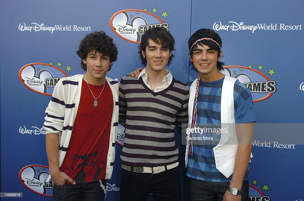 Nick Jonas Kevin Jonas and Joe Jonas of the Jonas Brothers attend the Disney Channel Games 2007 AllStar party at the Epcot Adventure Pavilion in...