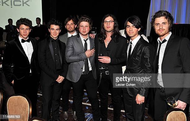 Nick Jonas Kevin Jonas Caleb Followill Matthew Followill Nathan Followill Joe Jonas and Jared Followill attend the 2009 GRAMMY Salute To Industry...
