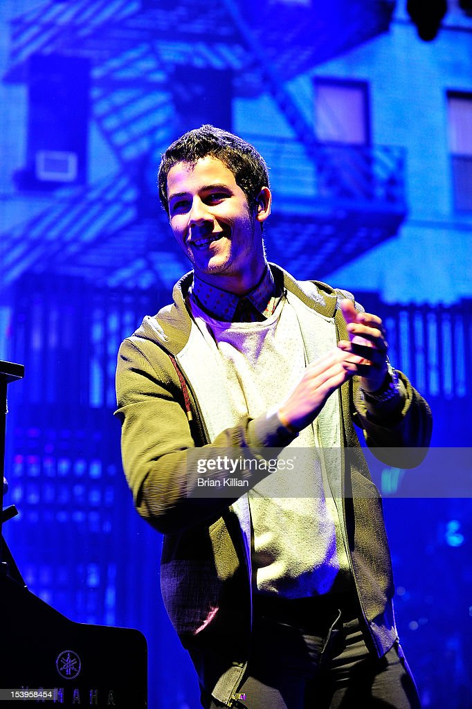 <a gi-track='captionPersonalityLinkClicked' href=/galleries/search?phrase=Nick+Jonas&family=editorial&specificpeople=842713 ng-click='$event.stopPropagation()'>Nick Jonas</a> of the Jonas Brothers performs at Radio City Music Hall on October 11, 2012 in New York City.