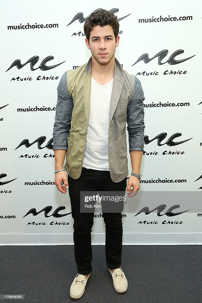 <a gi-track='captionPersonalityLinkClicked' href=/galleries/search?phrase=Nick+Jonas&family=editorial&specificpeople=842713 ng-click='$event.stopPropagation()'>Nick Jonas</a> of the Jonas Brothers visits Music Choice's U&A at Music Choice on June 20, 2013 in New York City.