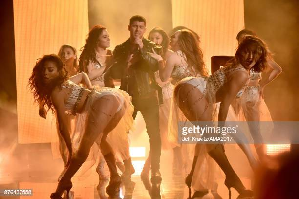 Nick Jonas onstage during the 2017 American Music Awards at Microsoft Theater on November 19 2017 in Los Angeles California