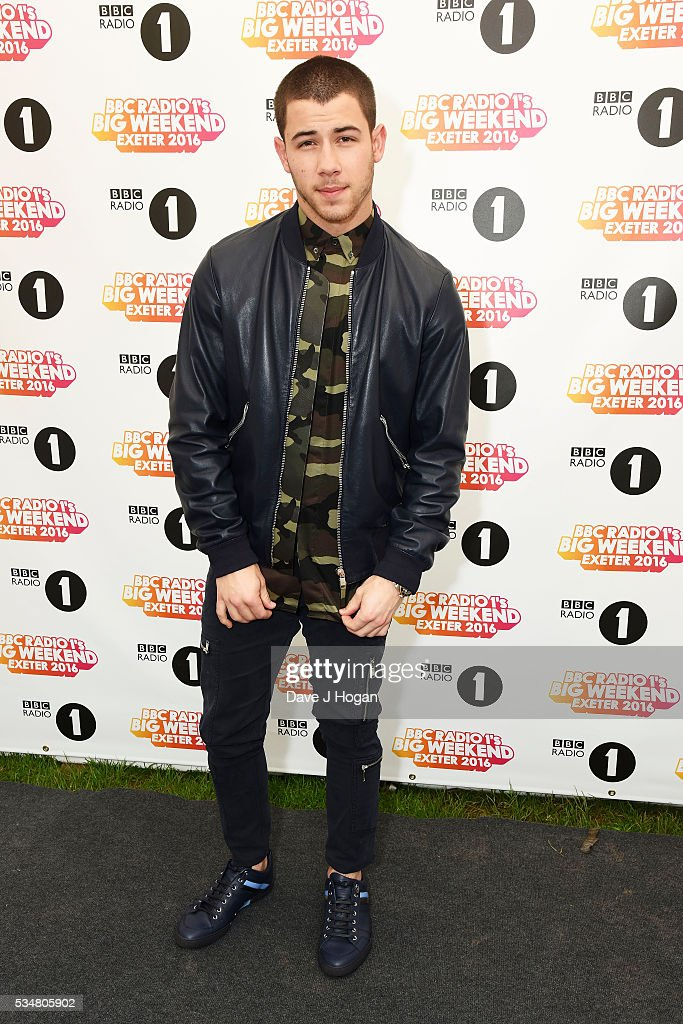 Nick Jonas poses for a photo during day 1 of BBC Radio 1's Big Weekend at Powderham Castle on May 28 2016 in Exeter England