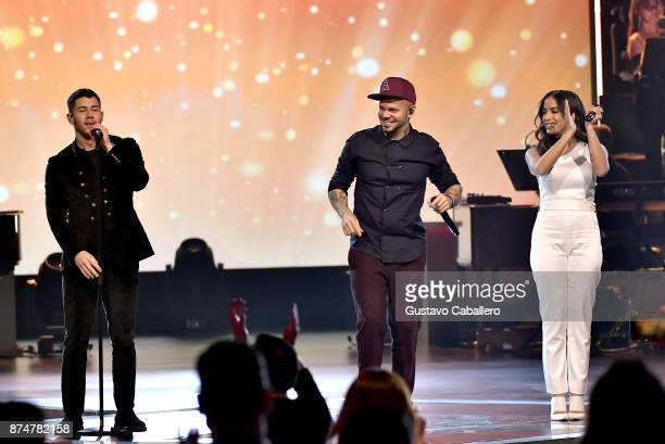 Nick Jonas Residente and Anitta perform onstage during the 2017 Person of the Year Gala honoring Alejandro Sanz at the Mandalay Bay Convention Center...