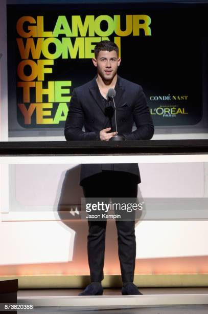 Nick Jonas speaks onstage at Glamour's 2017 Women of The Year Awards at Kings Theatre on November 13 2017 in Brooklyn New York
