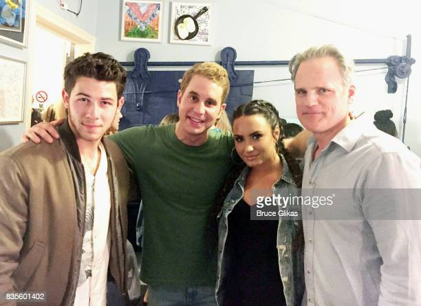 Nick Jonas Tony Winner Ben Platt Demi Lovato and Michael Park pose backstage at the musical 'Dear Evan Hansen' on Broadway at The Music Box Theatre...