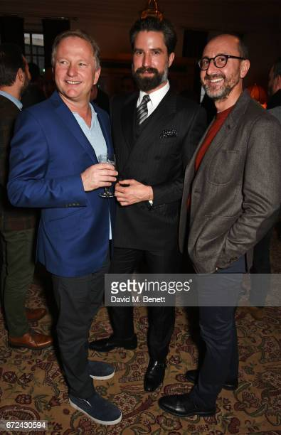 Nick Jones Jack Guinness and Gianluca Longo attend the NetaPorter Mr Porter preopening dinner cohosted by Jenny Dickinson and Jeremy Langmead in The...