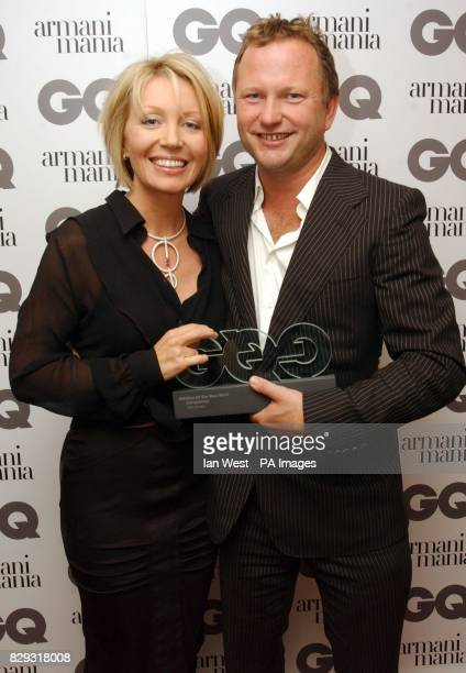 Nick Jones with the Entrepreneur award presented by Kirsty Young during the GQ Men of the Year Awards at the Royal Opera House in central London