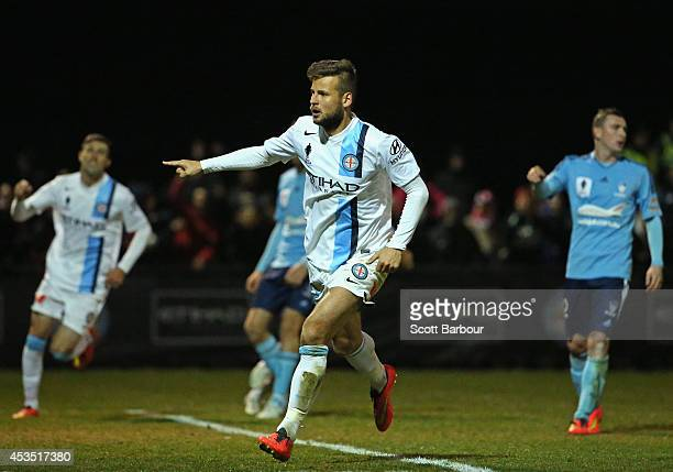 Nick Kalmar of City celebrates after scoring his teams first goal of the game during the FFA Cup match between Melbourne City and Sydney FC at...