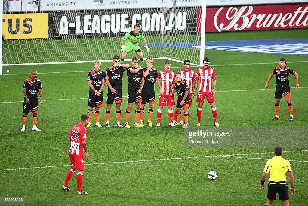 Nick Kalmar of the Heart gets ready to kick during the round six A-League match between the Melbourne Heart and the Brisbane Roar at AAMI Park on November 9, 2012 in Melbourne, Australia.