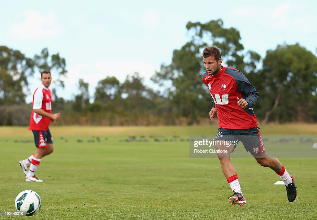 Nick Kalmar of the Heart runs with the ball during a Melbourne Heart A-League training session at La Trobe University Sports Fields on February 1, 2013 in Melbourne, Australia.