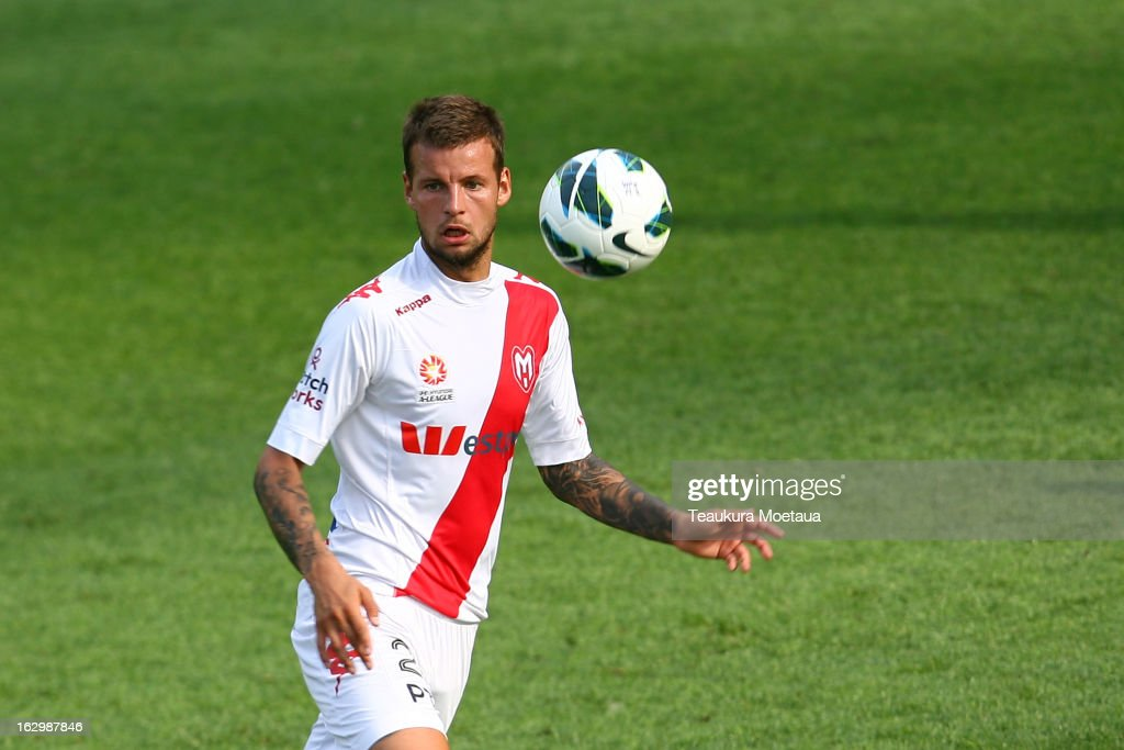 Nick Kalmer of the Melbourne Heart looks to control the ball during the round 23 A-League match between the Wellington Phoenix and the Melbourne Heart at Forsyth Barr Stadium on March 3, 2013 in Dunedin, New Zealand.