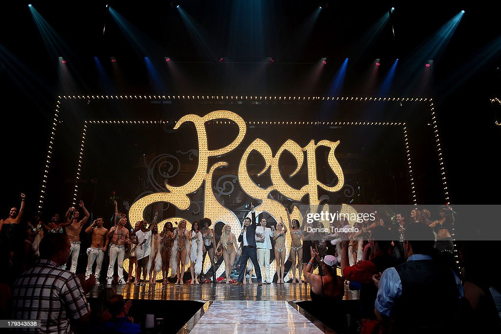 Nick Kenkel (C) and the cast of 'Peepshow' after the shows final performance on September 1, 2013 in Las Vegas, Nevada.