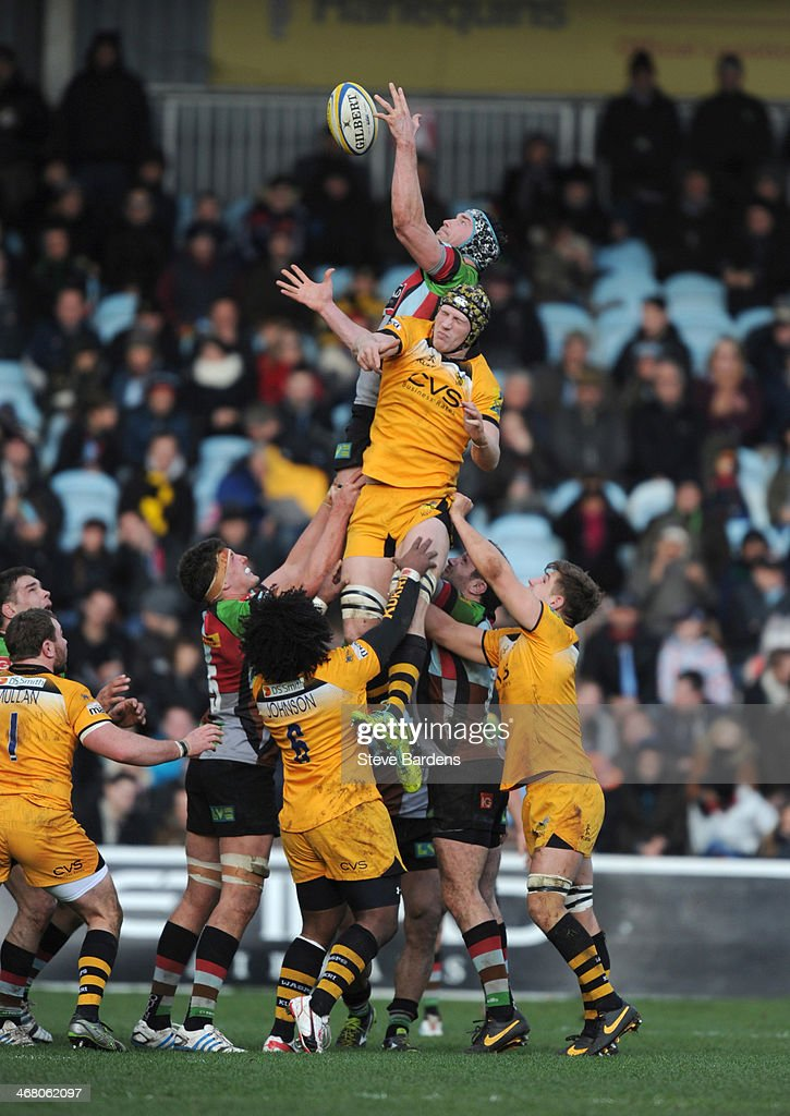 <a gi-track='captionPersonalityLinkClicked' href=/galleries/search?phrase=Nick+Kennedy&family=editorial&specificpeople=557043 ng-click='$event.stopPropagation()'>Nick Kennedy</a> of Harlequins wins a lineout from Kearnan Myall of London Wasps during the Aviva Premiership match between Harlequins and London Wasps at Twickenham Stoop on February 9, 2014 in London, England.