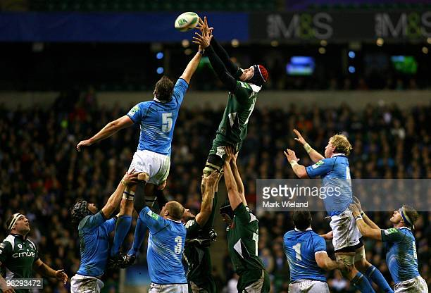 Nick Kennedy of London Irish jumps for the lineout ball with Nathan Hines of Leinster during the Heineken Cup Pool Six game between London Irish and...