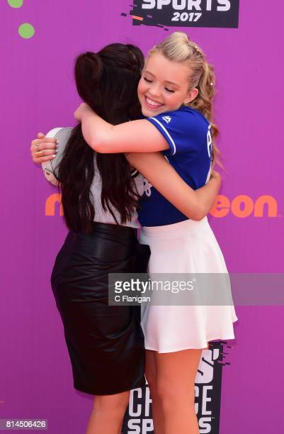 Nick kids stars Cree Cicchino and Jade Pettyjohn attend the 2017 Nickelodeon Kids' Choice Sports Awards at Pauley Pavilion on July 13 2017 in Los...