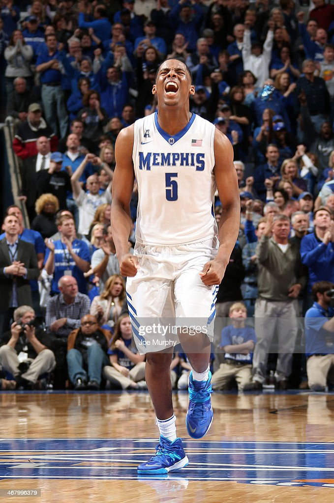 Nick King #5 of the Memphis Tigers celebrates against the Gonzaga Bulldogs on February 8, 2014 at FedExForum in Memphis, Tennessee. Memphis beat Gonzaga 60-54.
