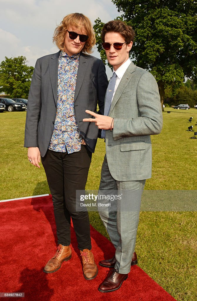 Nick Kingsnorth (L) and Matt Smith attend day one of the Audi Polo Challenge at Coworth Park on May 28, 2016 in London, England.