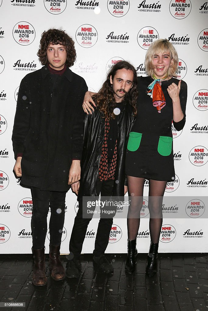 Nick Kivlen Jacob Faber and Julia Cumming of Sunflower Bean arrive for the NME awards at O2 Academy Brixton on February 17 2016 in London England