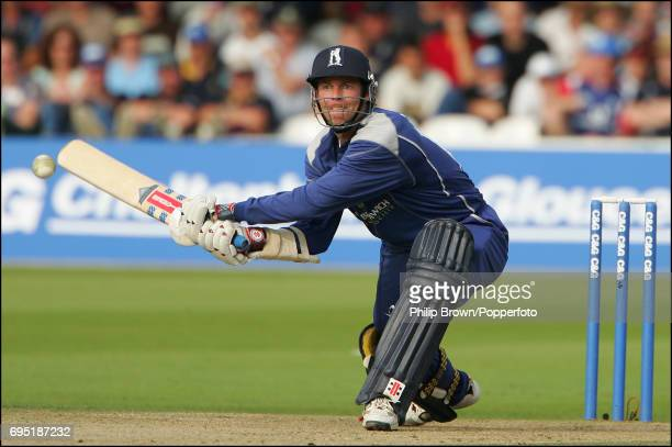 Nick Knight of Warwickshire hits out against Shaun Udal of Hampshire during the CG Trophy final between Hampshire and Warwickshire at Lord's Cricket...