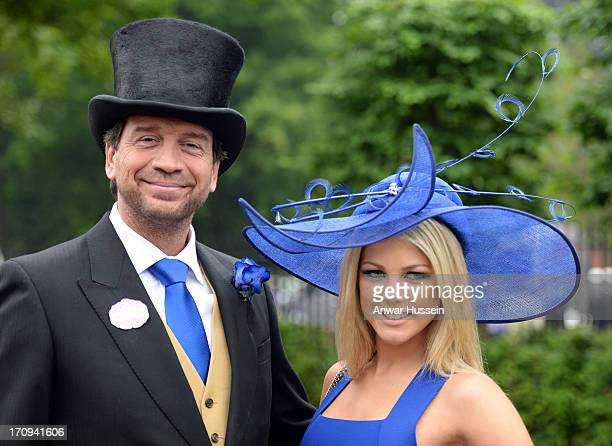 Nick Knowles and girlfriend Jessica Rose Moor attend Day 3 of Royal Ascot at Ascot Racecourse on June 20 2013 in Ascot England