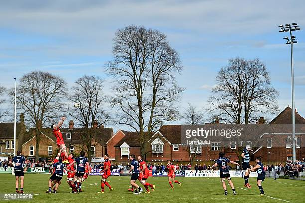Nick Koster of Bristol Rugby catches the ball during the Greene King IPA Championship Play Off Semi Final first leg match between Bedford Blues and...