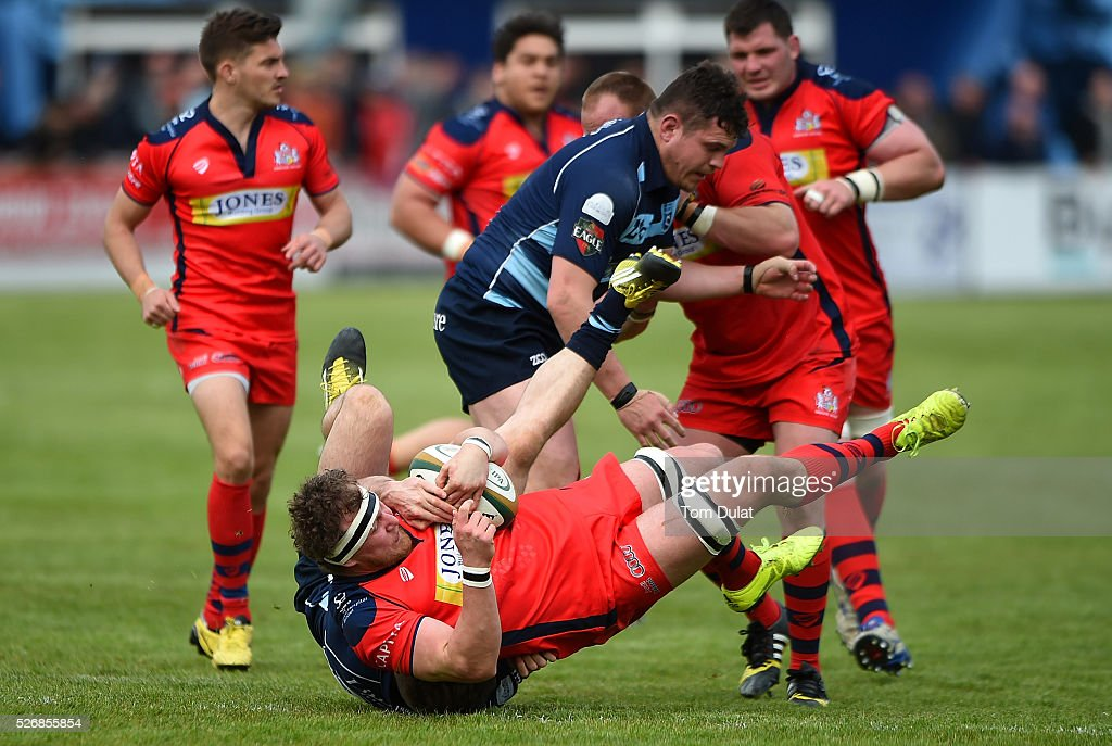 Nick Koster of Bristol Rugby is tackled during the Greene King IPA Championship Play Off Semi Final first leg match between Bedford Blues and Bristol Rugby at Goldington Road on May 1, 2016 in Bedford, England. (Photo by Tom Dulat/Getty Images).