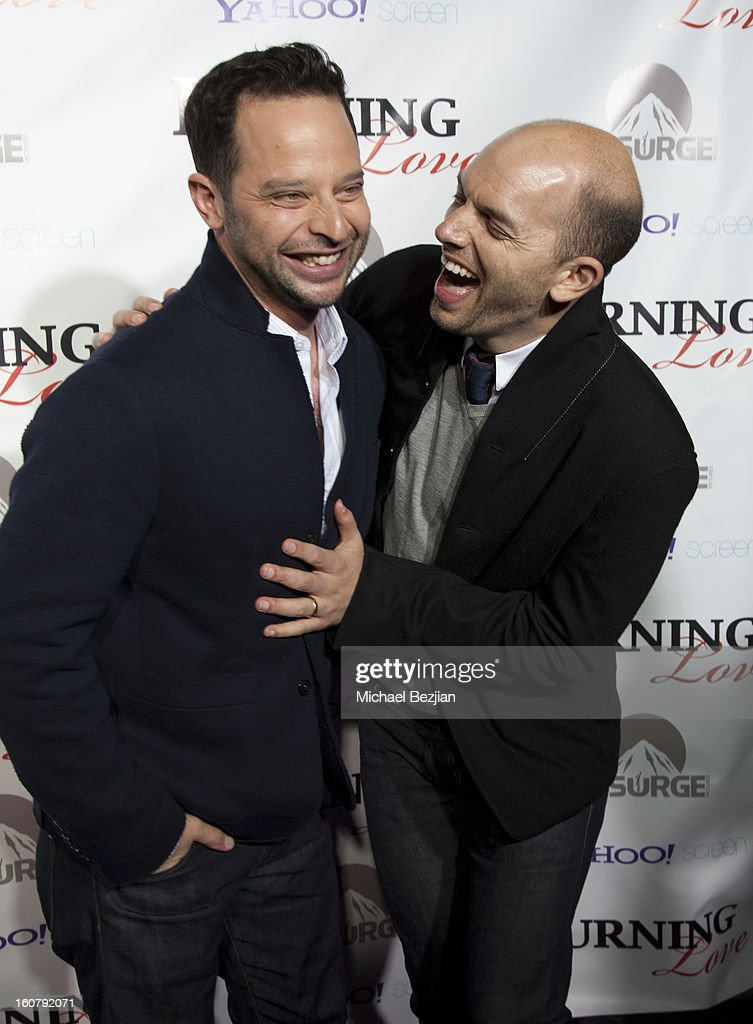 Nick Kroll and Paul Scheer attend the 'Burning Love' season 2 premiere at Paramount Theater on the Paramount Studios lot on February 5, 2013 in Hollywood, California.