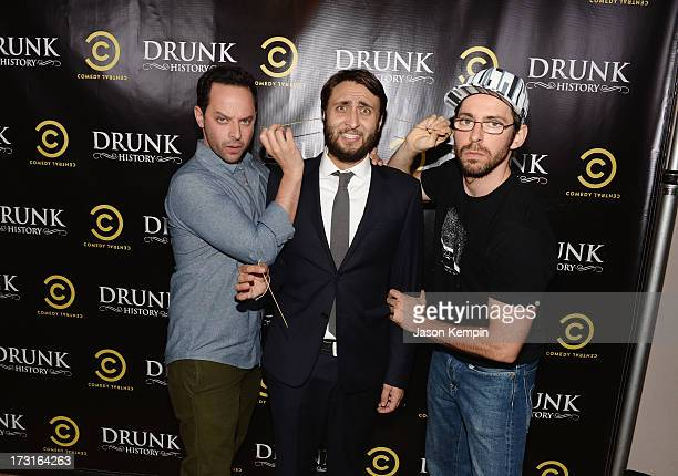 Nick Kroll Jeremy Konner and Martin Starr attend Comedy Central's 'Drunk History' Premiere Party at The Wilshire Ebell Theatre on July 8 2013 in Los...