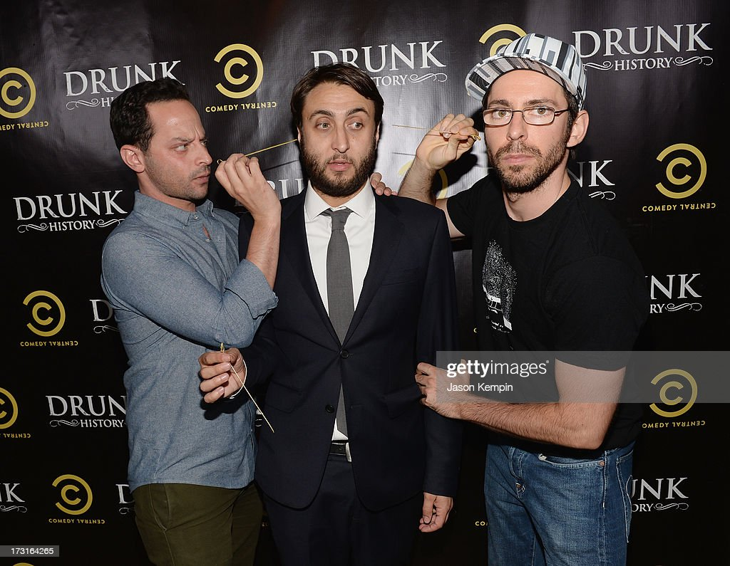 <a gi-track='captionPersonalityLinkClicked' href=/galleries/search?phrase=Nick+Kroll&family=editorial&specificpeople=4432339 ng-click='$event.stopPropagation()'>Nick Kroll</a>, Jeremy Konner and <a gi-track='captionPersonalityLinkClicked' href=/galleries/search?phrase=Martin+Starr&family=editorial&specificpeople=3733303 ng-click='$event.stopPropagation()'>Martin Starr</a> attend Comedy Central's 'Drunk History' Premiere Party at The Wilshire Ebell Theatre on July 8, 2013 in Los Angeles, California.