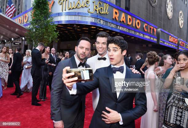Nick Kroll John Mulaney and Darren Criss attend the 2017 Tony Awards at Radio City Music Hall on June 11 2017 in New York City